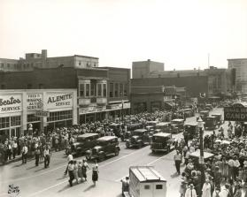 A crowd gathers for the grand opening of J. C. Penney's Department Store