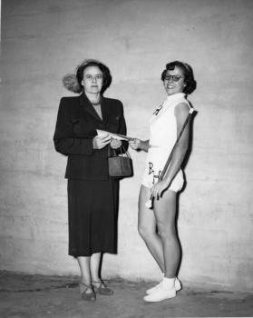 Award presentation to a winner in the Baton Twirling Contest