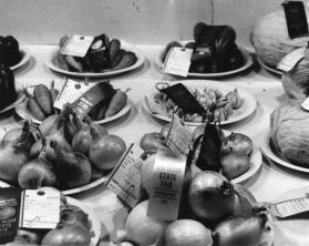 Vegetables on plates in the horticultural exhibit of the State Fair