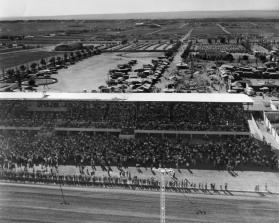 Aerial view looking west from the racetrack over the grandstand