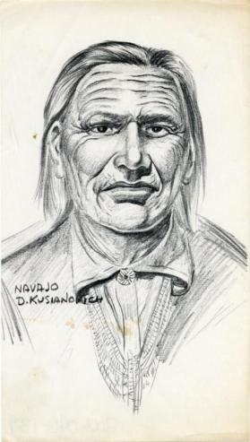 Photocopy of a charcoal drawing of Navajo man