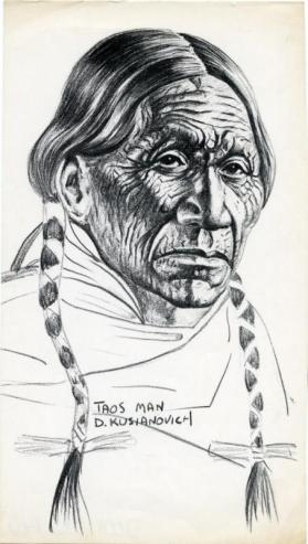 Photocopy of a charcoal drawing of a Taos man