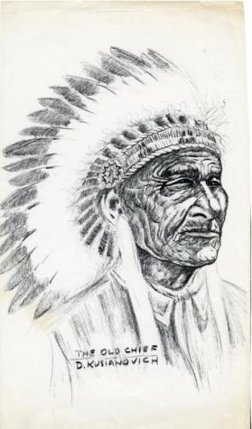 "Photocopy of a charcoal drawing of ""The Old Chief"""