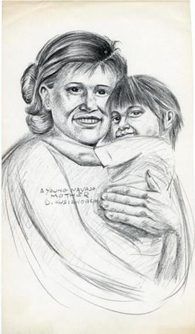 Photocopy of a charcoal drawing of a Navajo mother and child