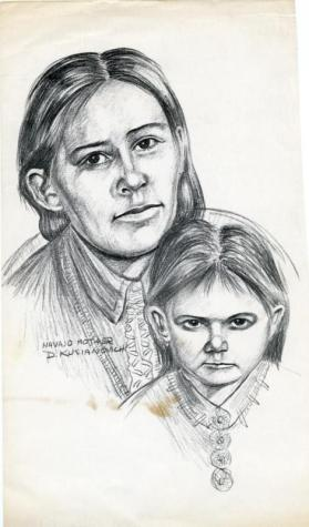 Photocopy of a charcoal drawing of a Navajo woman and young child