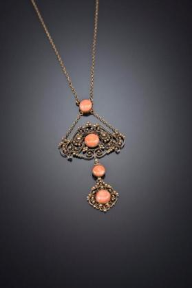 Necklace Pendant with 4 Coral Cabochons