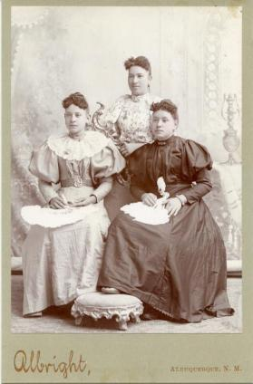 Portrait of three unidentified young women