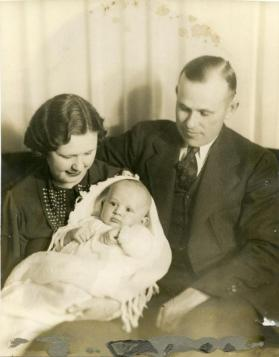 Portrait of an unidentified couple and baby