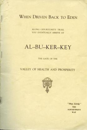 """Al-bu-ker-key"" tourist book by the Albuquerque Chamber of Commerce"